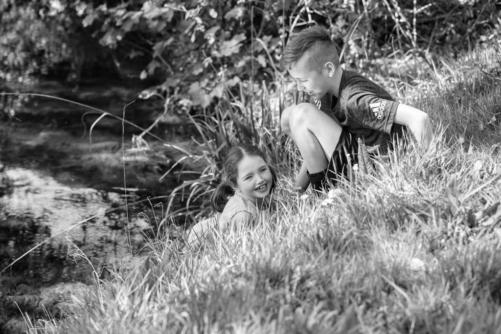 Children laughing river bank-Natural Family photography-4