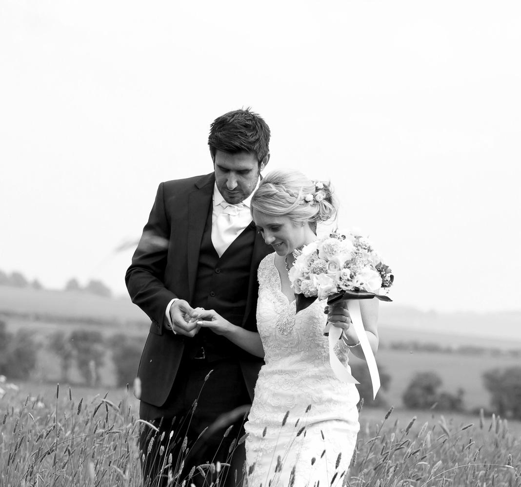 bride & groom portrait in field, Oxfordshire wedding