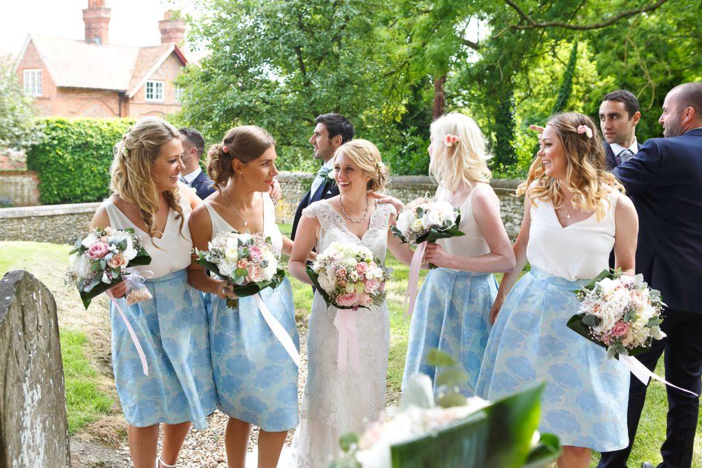 bride and bridesmaids church wedding photography