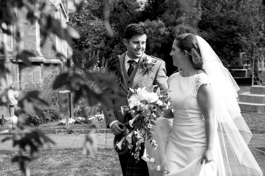 bride and groom black and white wedding_